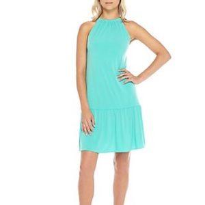 Michael Kors Solid Chain Halter Aqua Dress